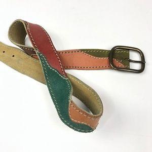 Lucky Brand   Genuine Leather Boho Patch Belt